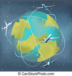 Earth planet with airplanes around