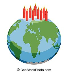 Earth planet with candles