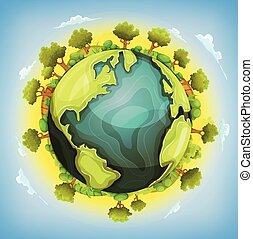 Earth Planet With Forest And Agriculture Elements Around