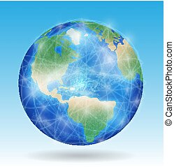 earth planet with line of network connect around the world