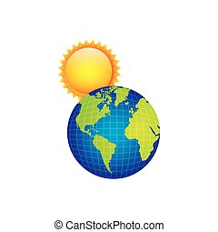 earth planet with sun icon
