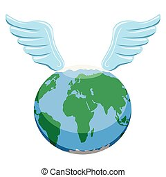 Earth planet with wings