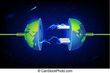 Earth Plug - illustration of plug socket in earth with spark