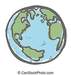 earth., pociągnięty, wektor, eps8, ręka