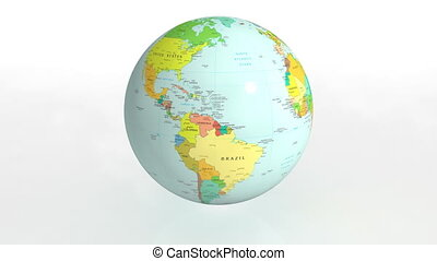 Earth political - 3D rotating earth on white background