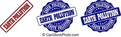 EARTH POLLUTION Grunge Stamp Seals