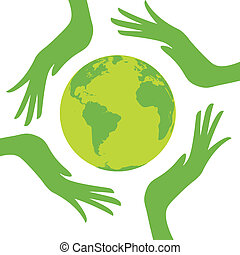 earth protected by hands. Design vector illustration