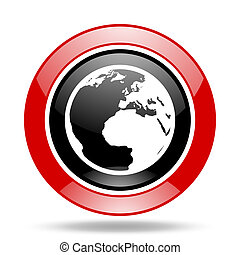 earth red and black web glossy round icon