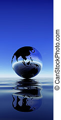 Earth reflection on water against blue sky