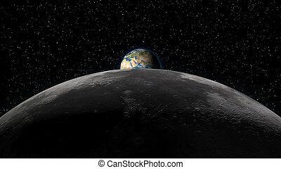 Earth rising over Moon horizon