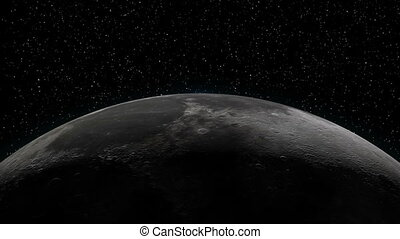Earth rising over Moon horizon - Realistic animation of...