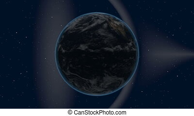 earth rotates in space