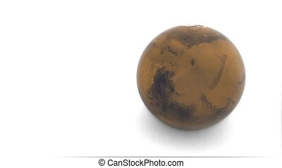 Earth rotates on a white background. 3d model of planet Mars.