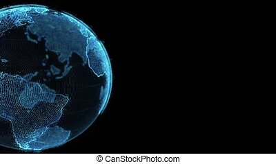 Earth rotating loop of rotating glowing dots stylised world globe with orbits with copy space