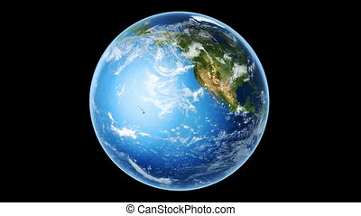 Earth Rotating on Black (Loop)