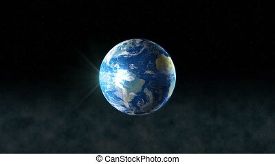 Earth Rotating, The World Spinning, Realistic Planet Turning 360 Degrees