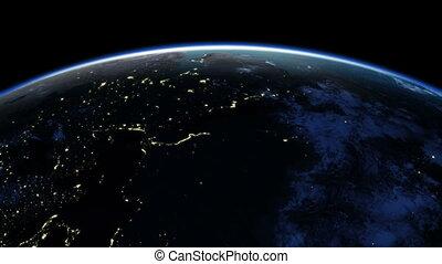 Earth rotation 360 degrees.