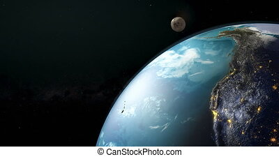 Earth rotation closeup, animation. 3D rendering