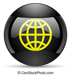 earth round black web icon on white background