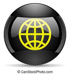 earth round black web icon on white background