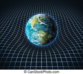 earth s gravity bends space around it  3d illustration