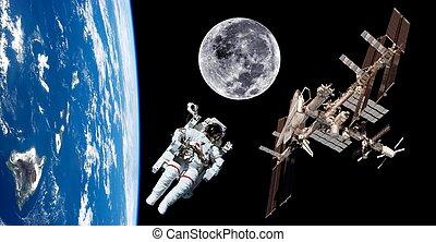 Earth Satellite Astronaut Space