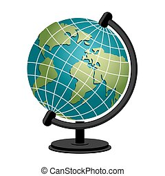 Earth school geography globe. Model of planet sphere. Astronomical objects or celestial body