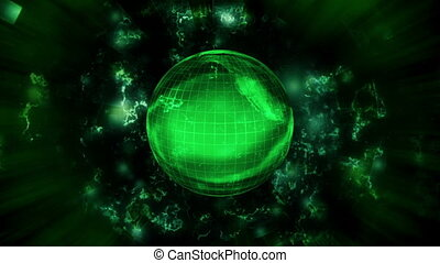 Earth science fiction abstract animated background - Green...