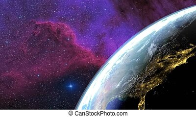 Earth seen from the sky. Transition day - night. Galaxy in the background. 3D Rendering