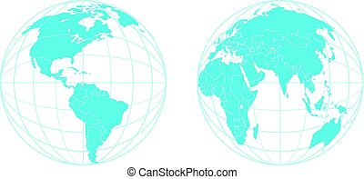 Earth semisphere vector template isolated on white