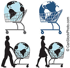 Earth Shopping Cart People