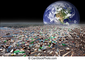 earth sinking in pollution - image showing earth sinking in...