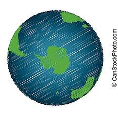 Earth Sketch Hand Draw Focus Antarctica Continent