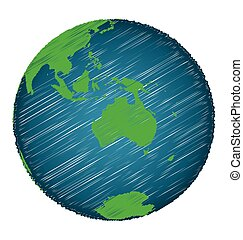 Earth Sketch Hand Draw Focus Australia Continent