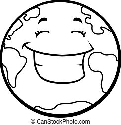 a cartoon planet earth smiling and happy clipart vector search rh canstockphoto com happy earth clipart black and white earth clipart black and white