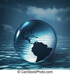 Earth sphere over ocean surface, abstract environmental backgrounds