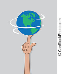 Earth Spin Finger - Planet earth spinning on a single finger