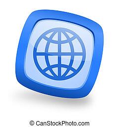 earth square glossy blue web design icon
