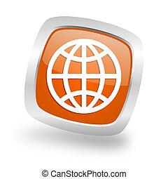earth square orange glossy chrome silver metallic web icon