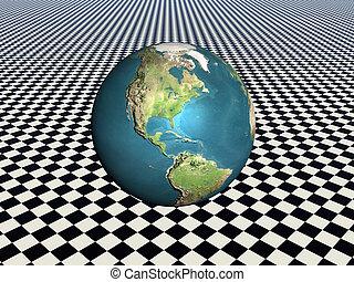 Earth. - Bryce creation, a world globe, earth on a grid...