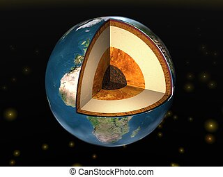 Earth.  - Earth cutaway. Structure of the Earth.