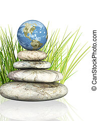 Earth on stones, combined in a tower