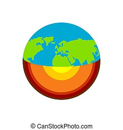 Earth structure. Planet scheme geology. Core and geological crust