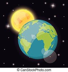 earth sun space dark