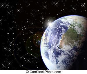 Earth & Sun - Earth and Outer Space Sunrise