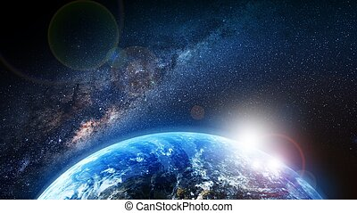 Sunrise - Earth Sunrise and Milky Way Illustration. First...