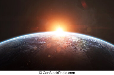 Earth sunrise, awesome science fiction wallpaper, cosmic landscape. Elements of this image furnished by NASA