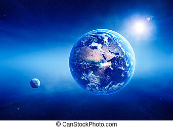 Earth sunrise deep space - Blue Earth with sunrise in deep...