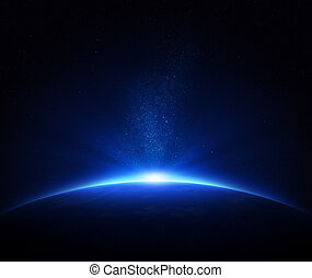 Earth sunrise in space - Earth - sunrise in deep blue space