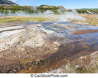 earth surface in Haukadalur hot spring valley - travel to...